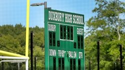 A scoreboard at a football field at the Duxbury High School Athletic Complex.