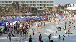 A crowded beach in Cancun, Mexico, on April 3, 2021.