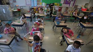Medford teacher Susan Renaud's first-grade classroom at the McGlynn Elementary School, pictured in April.