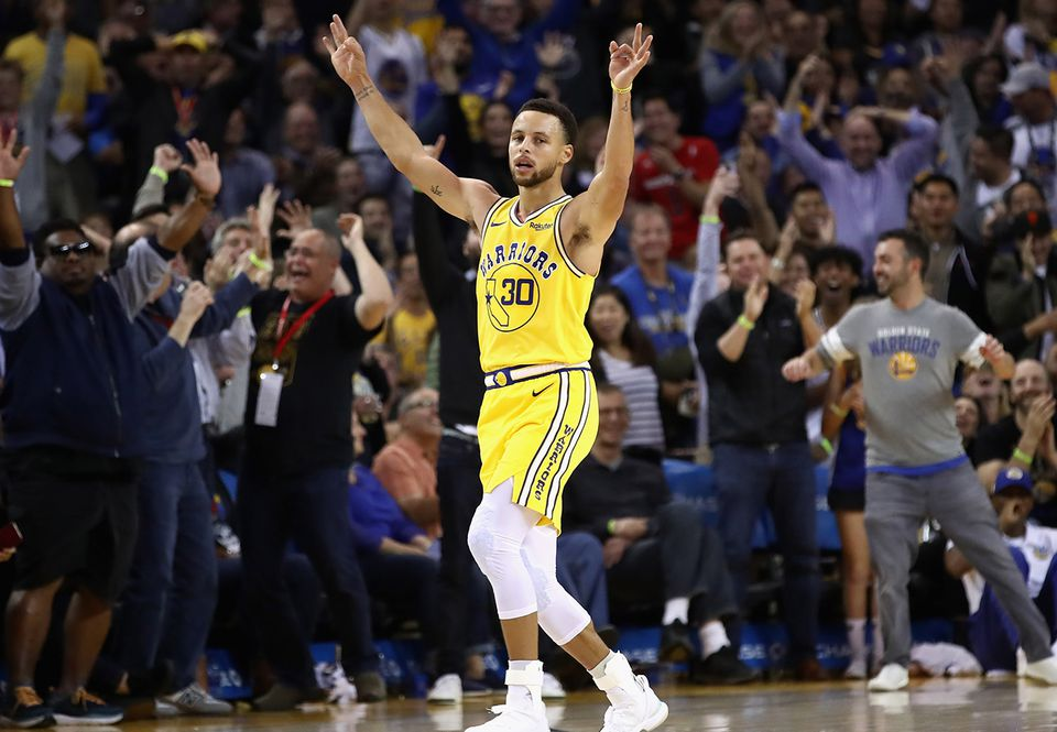c8dbd9ccf3f Stephen Curry reacted after he made a three-point basket and was fouled by  the