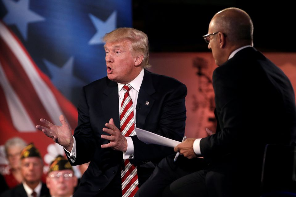 Donald Trump at the Commander-in-Chief Forum in New York on Wednesday.