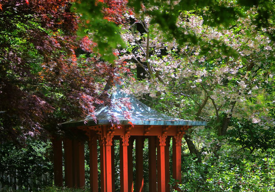 A shelter modeled on a pagoda in Sedgwick Gardens at Long Hill in Beverly.