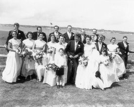 """The auction house made the first-ever prints from the negatives, discovered in a darkroom, of the 1953 wedding. The photographs, some posed and some candid, were taken by a """"back-up"""" freelance photographer."""