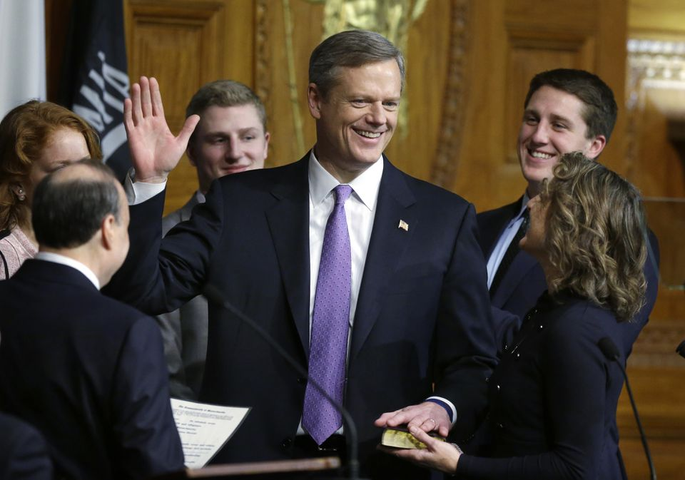 Charlie Baker was sworn in as governor on Thursday.