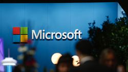 A logo sits on display outside the Microsoft Corp. pavilion at the Mobile World Congress in Barcelona.