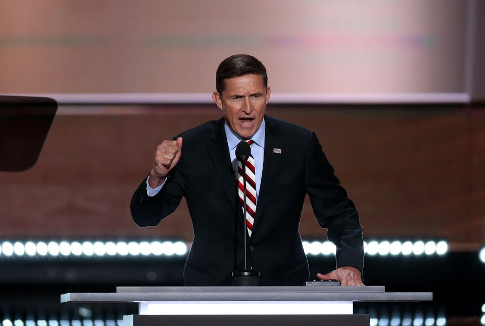 """Retired Lt. Gen. Michael Flynn speaks during the Republican National Convention in Cleveland on July 18, 2016. He used his prime time speech to lead the crowd in a chant of """"Lock her up!,"""" referring to Democrat Hillary Clinton."""