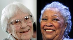"""This combination photo shows authors Harper Lee, left, and Toni Morrison, whose books, """"To Kill a Mockingbird"""" and """"The Bluest Eye"""" were among the more than 270 challenged books in 2020."""