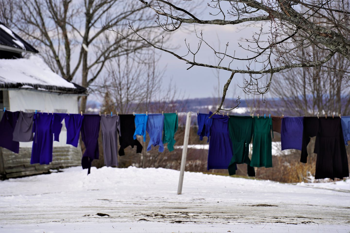 Amish plain clothes dried on a rope in Orleans County, VT.