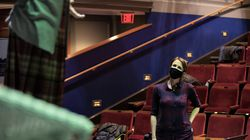"""Courtney Sale directs a rehearsal for Merrimack Repertory Theatre's  """"A Woman of the World,"""" starring Denise Cormier as Mabel Loomis Todd."""