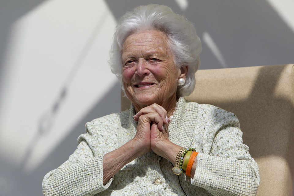 Barbara Bush listened to a patient's question during a visit to the Barbara Bush Children's Hospital in Portland, Maine, on Aug. 22, 2013.