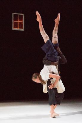 """Dancers Jermaine Spivey and Ana Maria Lucaciu in """"a rather lovely thing"""" at Jacob's Pillow."""