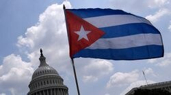 Cuban activists and supporters rallied outside the US Capitol in Washington.
