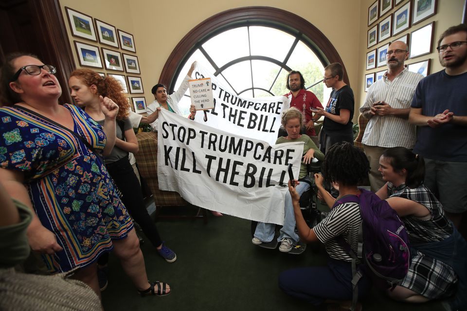 Protesters opposing the GOP health care bill gathered last week at the Capitol Hill office of Senator Rob Portman, Republican of Ohio.