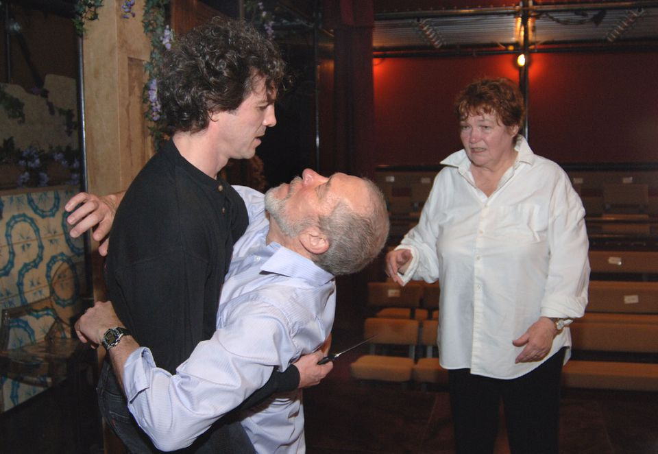 Dennis Krausnick (center) rehearsed playing Polonius, with Jason Asprey as Hamlet and Tina Packer as Gertrude in Lenox.