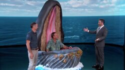 """Michael Packard (center) and first mate Josiah Mayo appeared on """"Jimmy Kimmel Live"""" Wednesday night."""