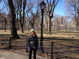 The author in New York's Central Park on the babymoon she took during her third pregnancy.