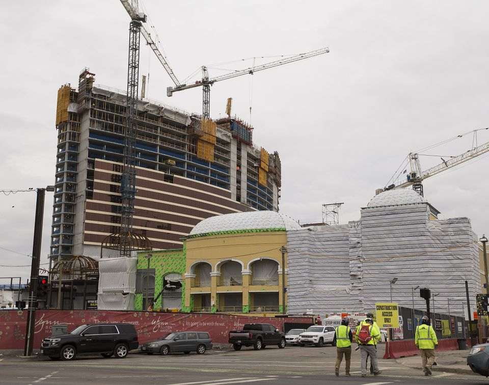 Construction continues on the Wynn Boston Harbor Casino in Everett.