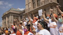 Women protested against the six-week abortion ban at the Capitol in Austin, Texas, early this month.
