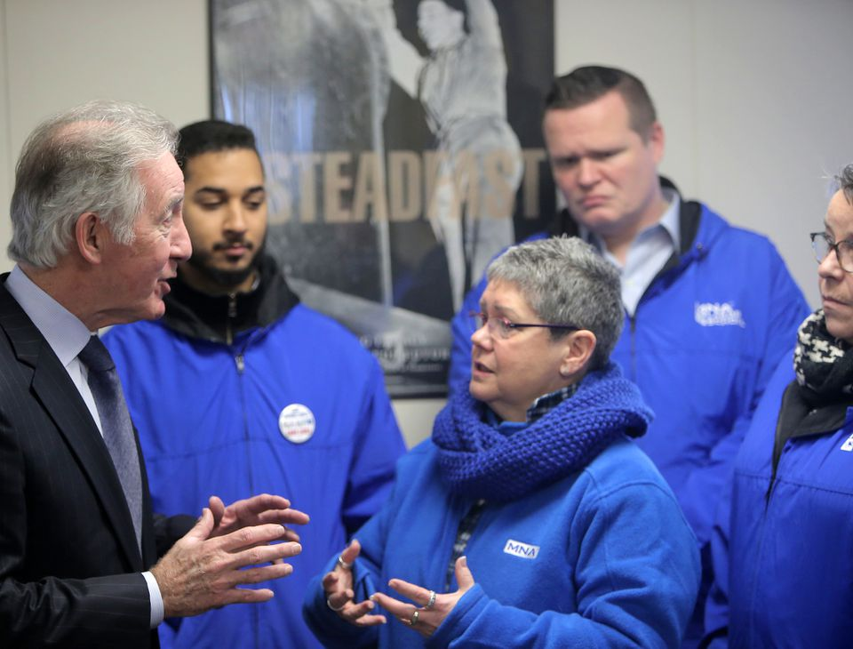 Representative Richard Neal spoke to members of the Massachusetts Nurses Association after meeting with Teamsters.