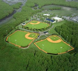 An architectural rendering depicting how the finished project is expected to look; the baseball diamonds are slated for completion in September.