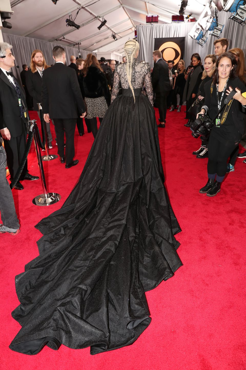 A closer look at the back of Lady Gaga's dress.