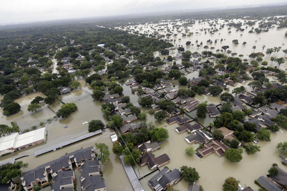 A neighborhood near Addicks Reservoir was flooded by rain from Tropical Storm Harvey on Tuesday.