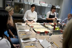 Restaurateur Barbara Lynch, center, mentored immigrant Monica Marulanda, who is now the pasta chef at Lynch's No. 9 Park.