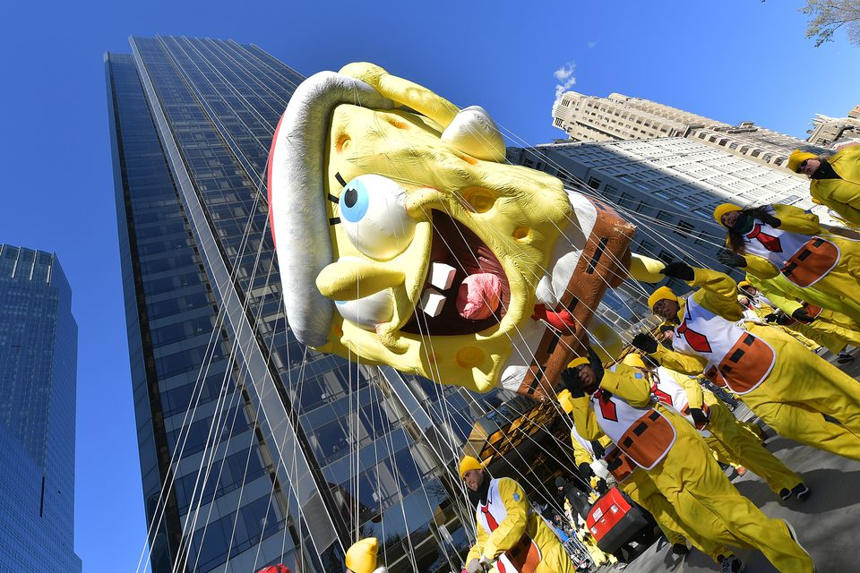 The SpongeBob SquarePants balloon floated along the parade route during the 2018 Macy's Thanksgiving Day Parade.
