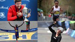 The winners of the 2019 Boston Marathon, clockwise from top left: Daniel Romanchuk, Worknesh Degefa, Manuela Schaer, and Lawrence Cherono.