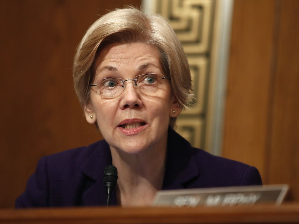 Senator Elizabeth Warren spoke during a hearing last month.