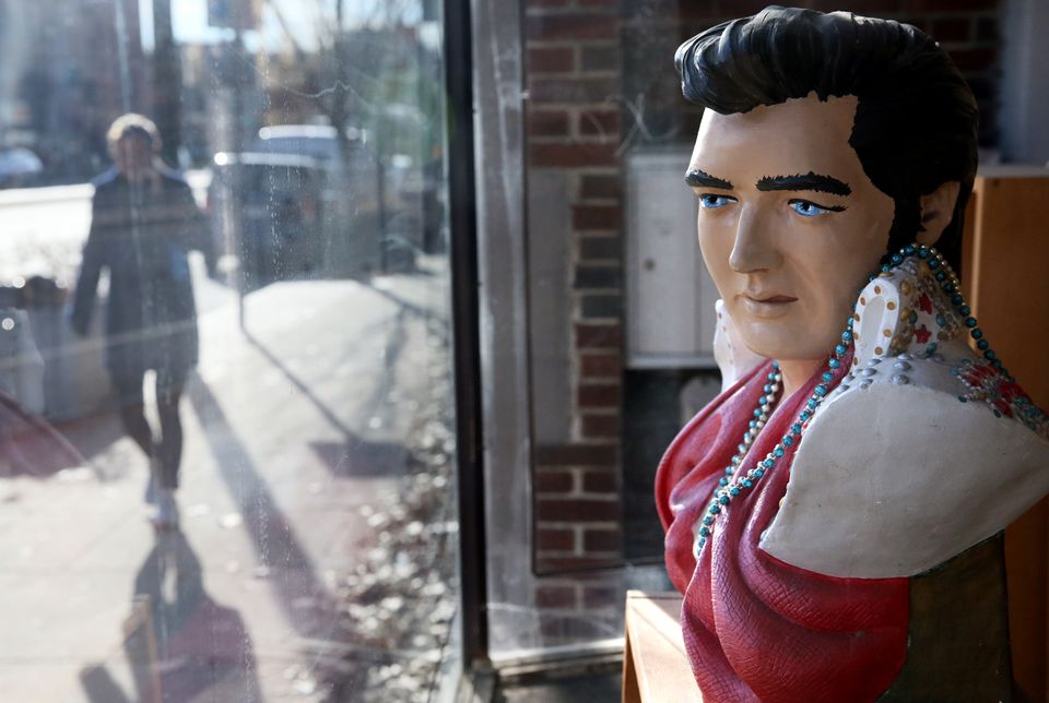 A bust of Elvis Presley was displayed in the window at Stereo Jack's on Massachusetts Avenue in Cambridge.