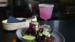 Crispy shrimp tacos and a prickly pear margarita at Barra in Somerville.