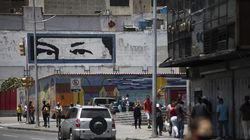 A mural of the eyes of the late President Hugo Chavez of Venezuela in the center of Caracas during the first day of the strict curfew ordered by President Maduro, on March 22, due to the surge of cases of COVID-19 and the lack of vaccines.