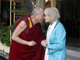 The Dalai Lama shared a moment with Barbara Walters during filming of a 2005 show.