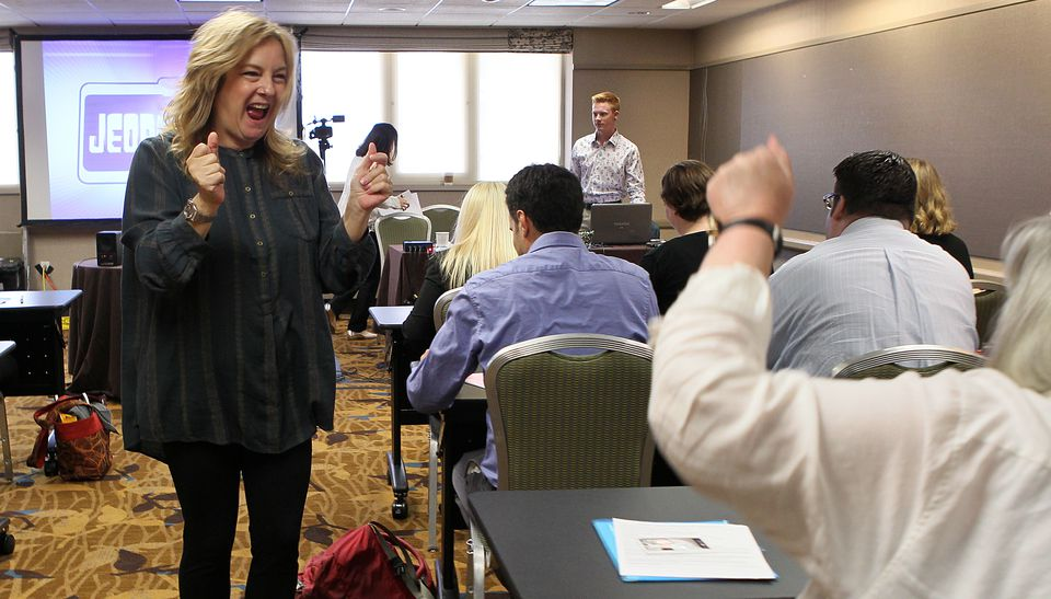 """Maggie Speak, contestant producer for """"Jeopardy!,'' tries to fire up auditioners."""