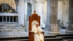 Pope Francis during a meeting at the Church of the Immaculate Conception, in Qaraqosh, Iraq, on March 7, 2021.