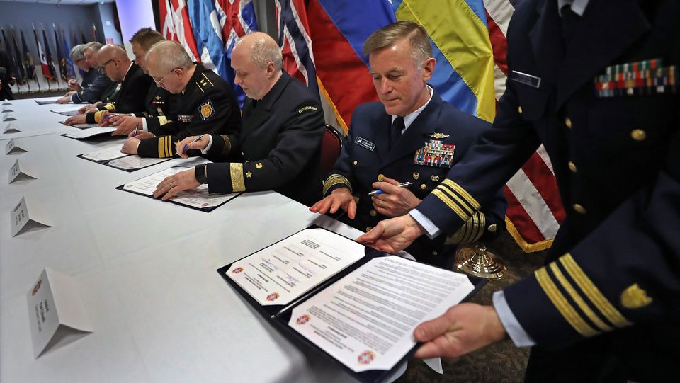 Admiral Paul Zukunft (right), commandant of the US Coast Guard, took part in the gathering of the Arctic Coast Guard Forum, which includes eight nations working to deal with increased shipping traffic in the Arctic.