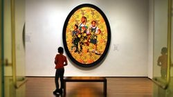"""Harvard Art Museums launched their """"ReFrame"""" initiative to change sightlines into galleries to highlight works of underrepresented artists. Shown: """"Portrait of Asia-Imani, Gabriella-Esnae, and Kaya Palmer,"""" 2020, by Kehinde Wiley."""