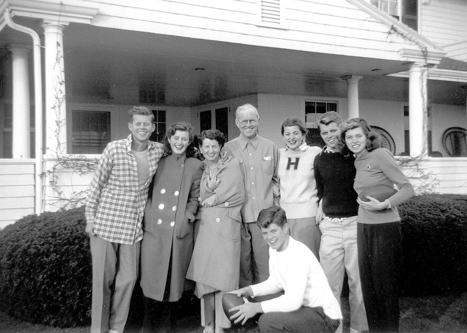 In this circa 1948 photo, members of the Kennedy family posed for a photo at their Hyannis Port compound.