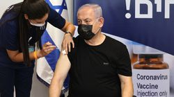 Former Israeli prime minister Benjamin Netanyahu receives a third dose of the Pfizer/BioNTech COVID vaccine.