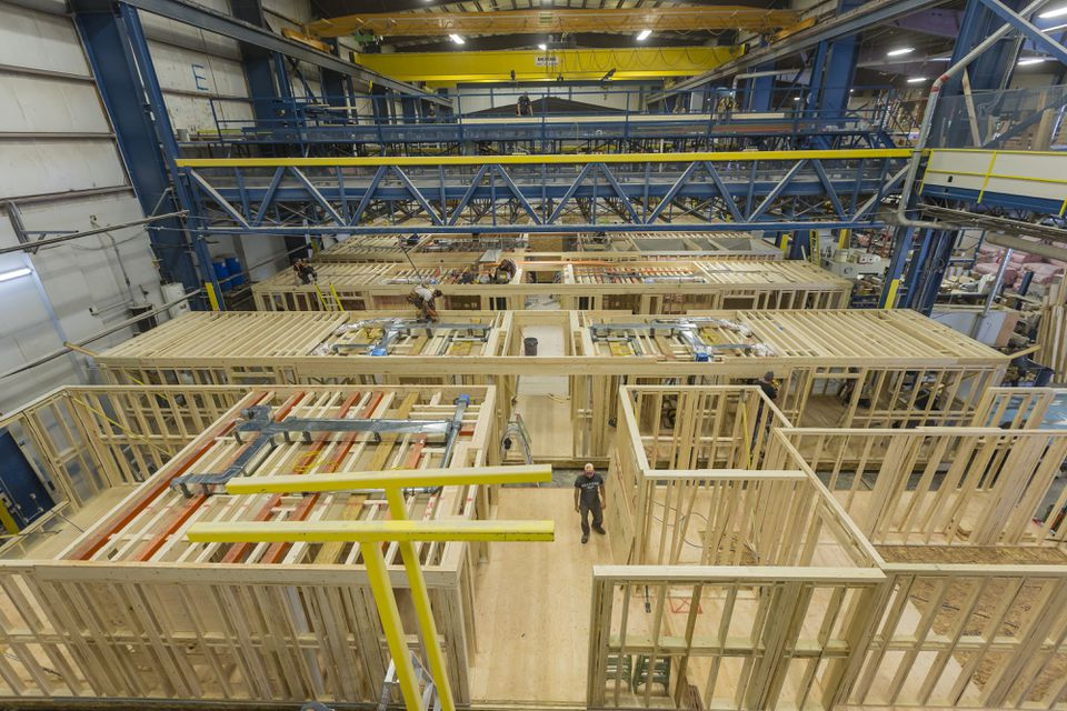 Modular houses are constructed at the RCM Group plant in Saint-Benoit-Labre, one hour south of Quebec City.
