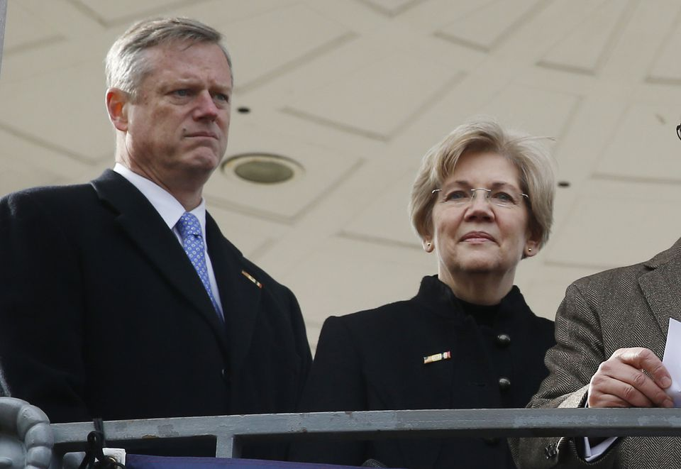Governor Charlie Baker (left) came to the defense of Senator Elizabeth Warren Wednesday, questioning GOP Senate leaders' decision to rebuke her during a debate over President Trump's nominee for attorney general.