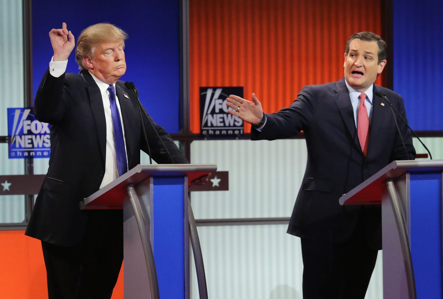 During the 2016 Republican race, Donald Trump (here with Senator Ted Cruz) used the crowded field to his advantage, especially in the debates.