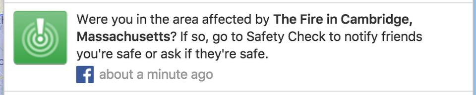 A screenshot of Facebook's safety check feature, which the network deployed for Saturday's Cambridge fire.