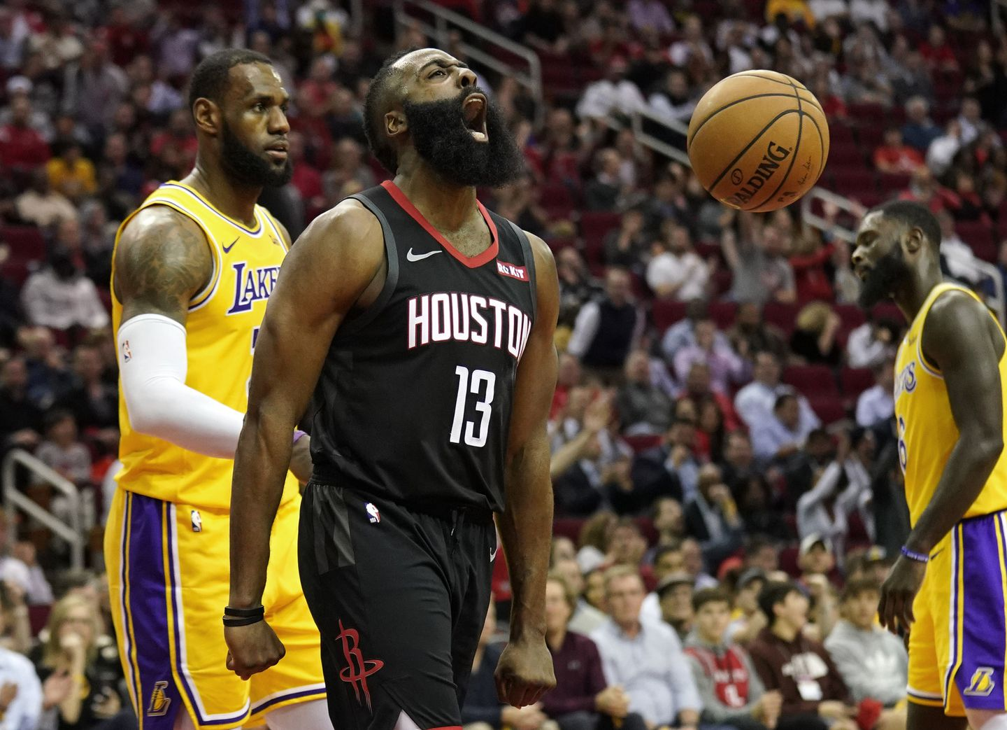 86865bcd1832 James Harden lets out his enthusiasm after making a basket as the Los  Angeles Lakers