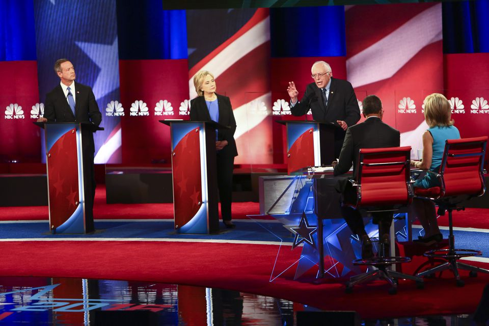 From left: Democratic presidential candidates Martin O'Malley, Hillary Clinton, and Bernie Sanders during Sunday's debate in Charleston, S.C.