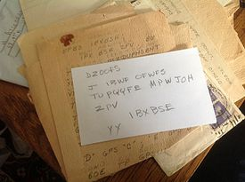 """Howard Attebery's new note to Cynthia Riggs. Decoded, it reads """"I have never stopped loving you."""""""