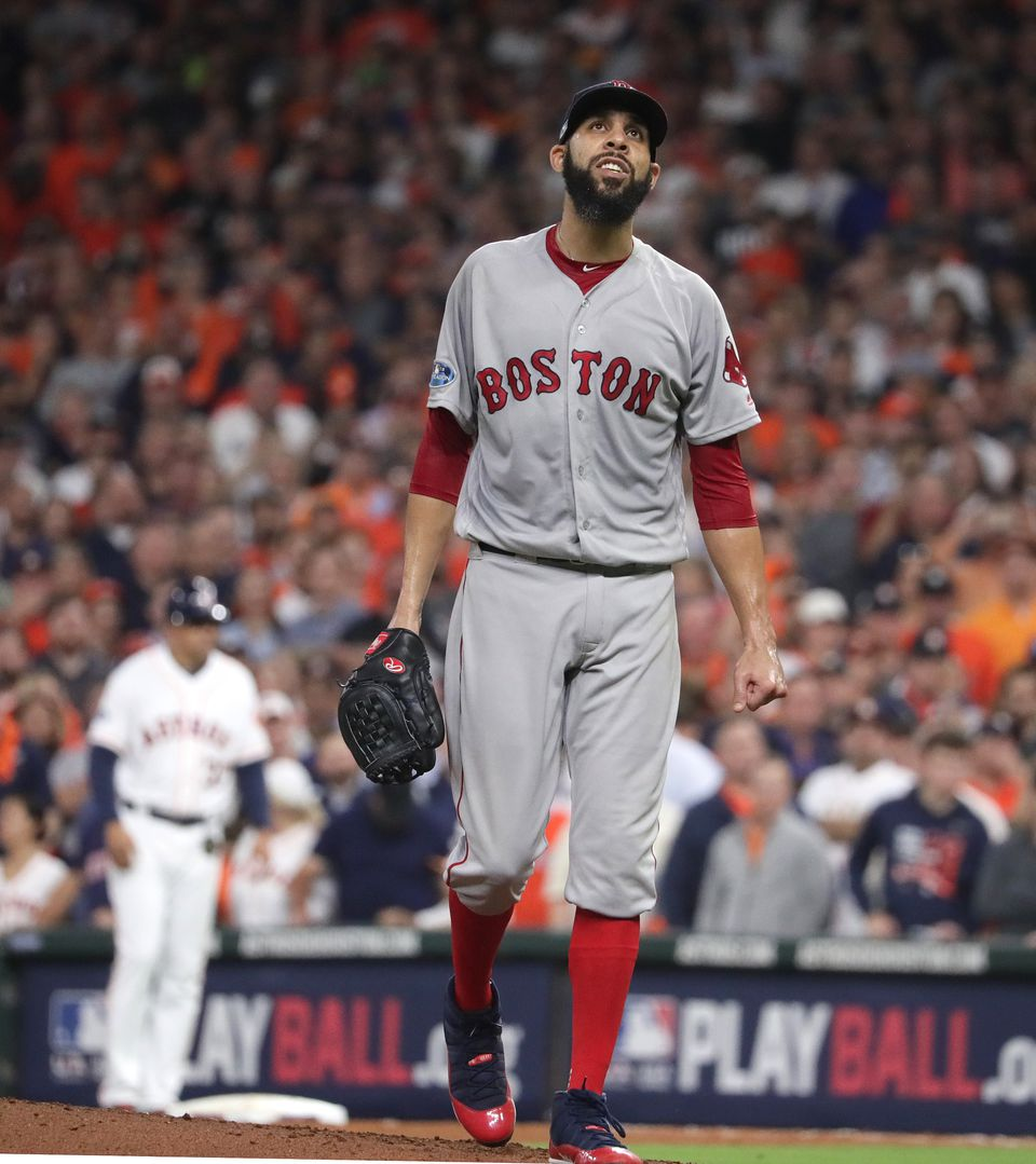 Red Sox starter David Price is feeling in command as he walks towards the dugout after striking out the Astros' Marwin Gonzalez in the fourth inning.