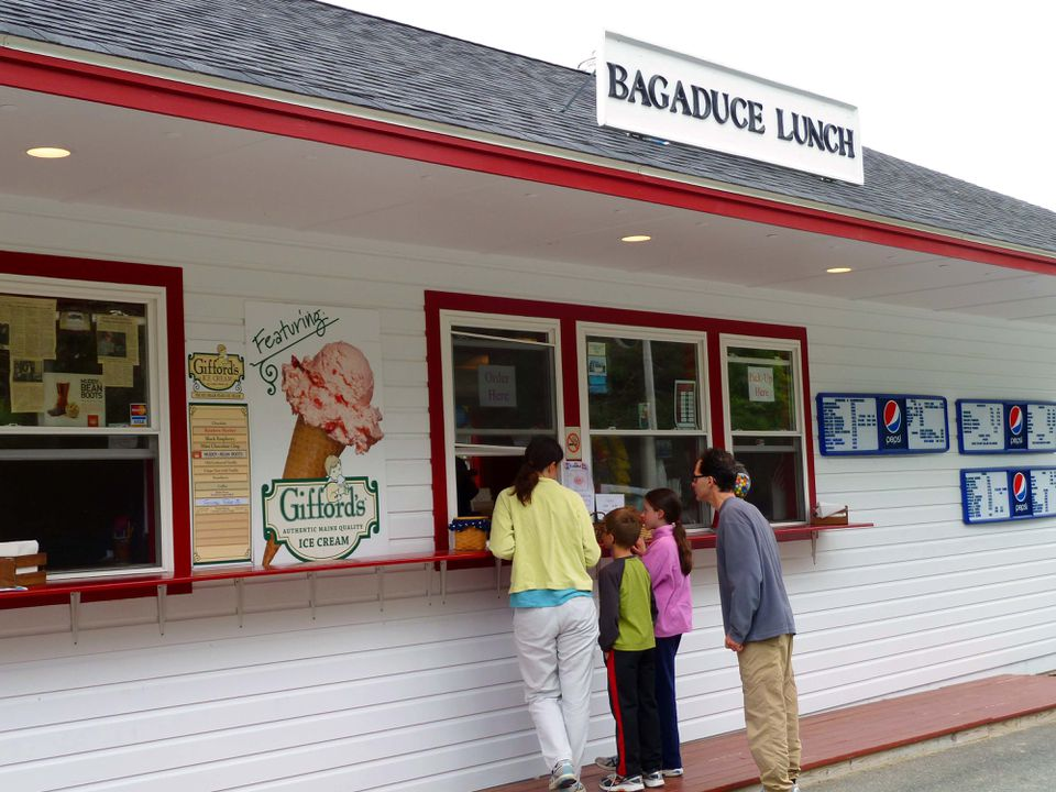 A family from Blue Hill bellies up to the window at Bagaduce Lunch in Brooksville, Maine.
