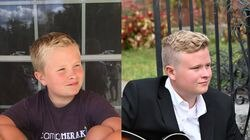 """""""Just FOUR YEARS between these pictures,"""" wrote Julie Beckham, referring to her son, Adam Beckham Clyve."""